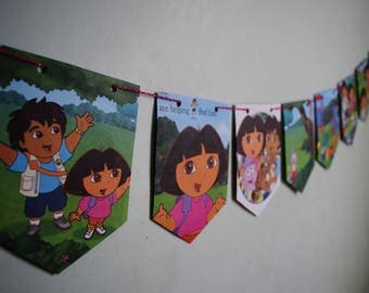 DORA The Explorer Bunting Kids Birthday Banner Kids Birthday Bunting Dora Pennant Kids Birthday Decor Nursery Decor Girls Birthday Banner