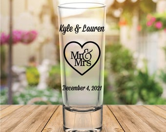 "Custom ""Mr. and Mrs."" Tall Wedding Favor Shot Glasses"