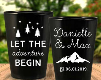 "Custom ""Let The Adventure Begin"" 2-Sided Black Wedding Favor Shot Glasses"