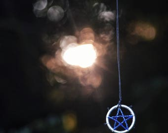 Black & Blue Pentagram Necklace