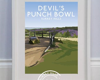 The Devil's Punch Bowl, Surrey Hills - Limited edition travel print celebrating the Surrey Hills AONB 60th anniversary - Louise Dunckley