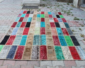 """FREE SHİPPİNG' Patchwork  , 273x179 cm 9'9x5'9""""ft,Carpet Patchwork Rug,MultiColor Patchwork rug,Handmade Carpet Patchwork ,Colorful Rug,709"""