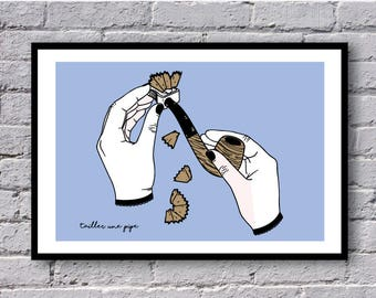 """Blow illustration - """"French phrases"""" series. A5. Poster / Risographie"""