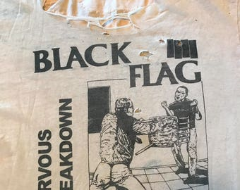 Vintage Black Flag T-shirt Nervous Breakdown Raymond Pettibon Thrashed Paper Thin Super Soft RAD Size Large/Xl Punk Hardcore LA