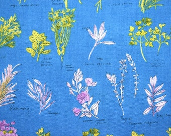 Herb fabric, kitchen fabric, makower fabric, cotton fabric, blue fabric, fabric by the metre, flower fabric, country cottage, named herbs