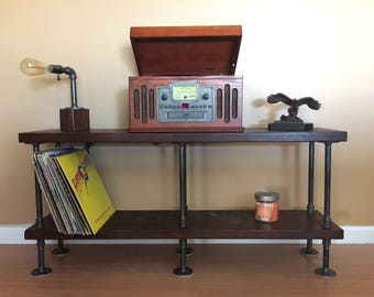 Industrial Table Stand - Media Console - Bookshelf - Rustic TV stand - Steampunk table stand - Steel and Wood TV stand - Steampunk -