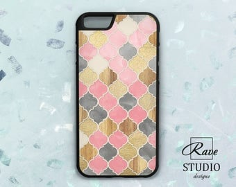 Mosaic iPhone 7 case Pink iPhone x case Glitter iPhone case Pink mosaic marble iPhone 8 plus Wood mosaic art pink and gold iPhone 6 case