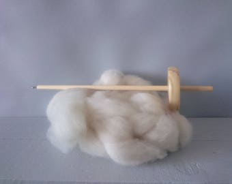 British wool Drop spindle kit - wool spinning kit 50g Dorset wool - spin your own gloves - Chemical free - Bleach free wool - un dyed