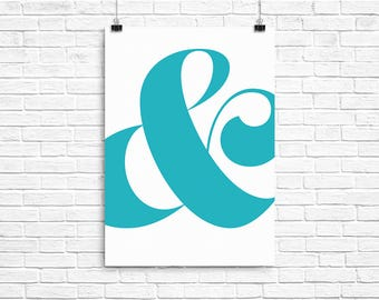 Teal/Turquoise Ampersand Poster - A2