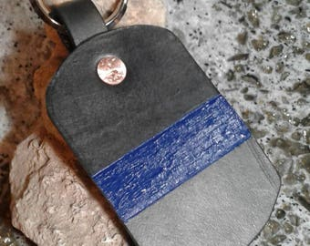 Blue line keychain, handmade leather.