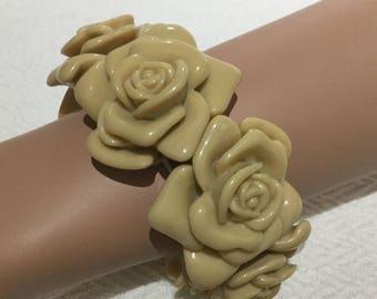 Roses Elasticated Bracelet, Cappuccino Colour