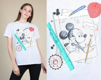 90s Mickey T Shirt - Medium // Vintage Heather Grey Cartoon Disney Tee