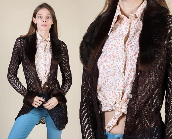 90s Sheer Knit Cardigan // Vintage Faux Fur Trim Brown Open