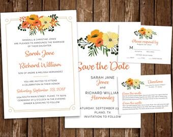 Floral Printable Wedding Invitation Set - DIY Printable PDF Download