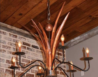 Steel chandelier pendant light copper light fixture rustic copper chandelier pendant light copper light fixture rustic light antique vintage ceiling light kitchen dining room aloadofball Gallery