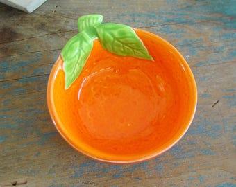 Vintage Orange Bowl,Orange Fruit Shaped Bowl,Orange Fruit Dish,Orange Shaped Dish,Retro,Kitchen Decor,Orange Bowl,Small Bowl,Dipping Bowl