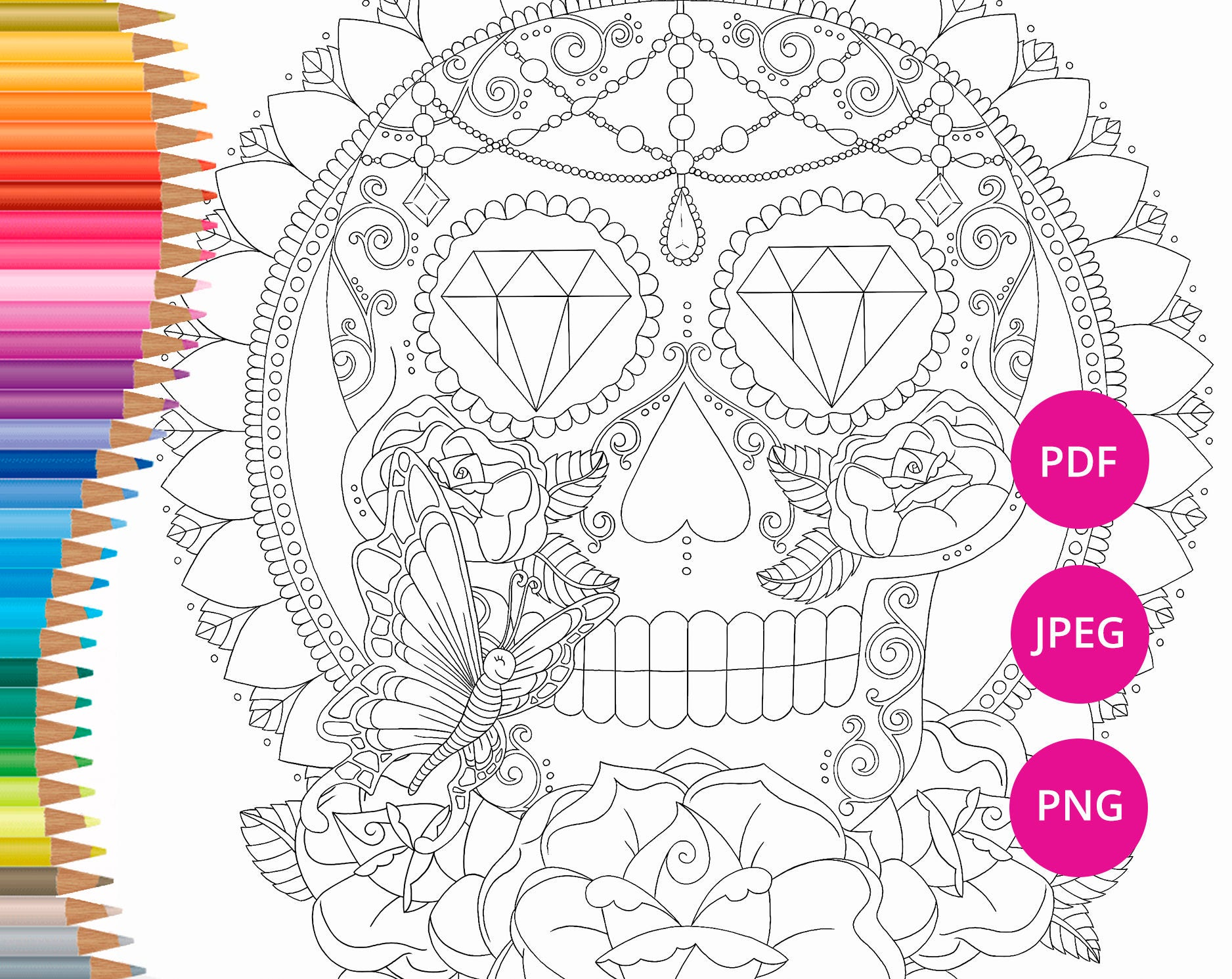 sugar skull coloring page for adults halloween coloring