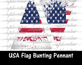 USA Flag Triangle Bunting Pennant Banner Instant Download, Party Decorations, Print and Cut file, Silhouette, Cricut, America
