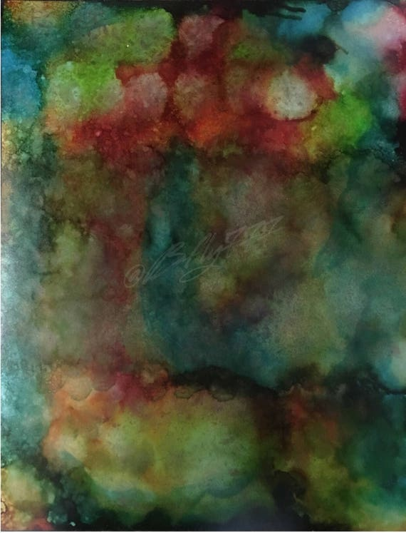 "Original Alcohol Ink Abstract Painting: ""Clouds of Rainbow"" (11"" X 14"")"