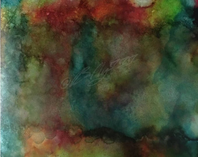 "Original Alcohol Ink Abstract Painting: ""Clouds of Rainbow"""