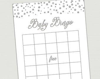 Silver BABY BINGO CARDS, baby bingo printable, Baby Shower Bingo Cards, Baby Shower Game printable, bingo cards baby shower silver gray BL6