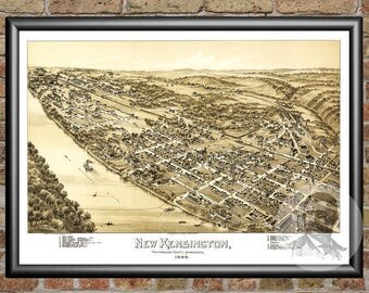 New Kensington,Pennsylvania Art Print From 1896-Digitally Restored Old New Kensington,PA Map Poster-Perfect For Fans Of Pennsylvania History