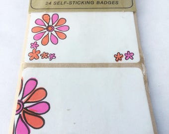 vintage 1960s Dymo name tags/party badges -  pink & orange flowers