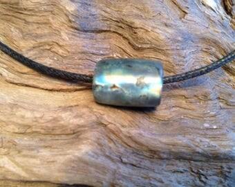 Hand Carved Spectrolite Labradorite Bead.
