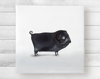 Valentine's Day gift for him. Art Print on canvas-pug Michael.