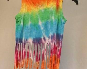 25% OFF ENTIRE SHOP Girls Size 1 Fringe Singlet - Beach - Festival - Ready To Ship - Tie Dyed - Fashion - 100 Percent Cotton - Free Shipping