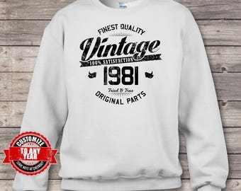Vintage 1981, 37th birthday, 37th birthday gifts for men, 37th birthday gift, 37th Birthday Sweatshirts, gift for 37th