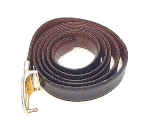 Black and Brown Reversible Suple Leather 80s Men's Belt Made in Canada Gold and Silver Tone Metal Buckle