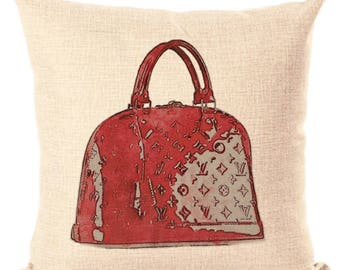 Louis Vuitton Inspired Pillow Cover Decorative Pillow Brown White Pillow Fashion Pillow Home Decor Couture LV Alma