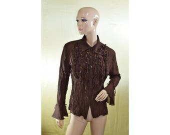 Vintage women top blouse shirt brown