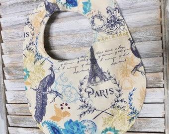 Paris Baby bib, Shower gift, Eiffel tower, Paris, feather, baby shower gift, gift for baby, gift for new mom, dribble bib, drool bib,