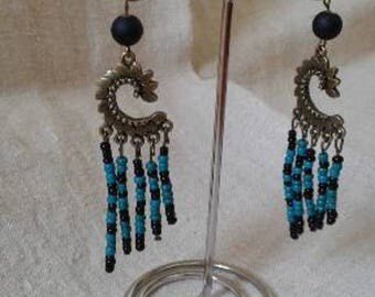 seed beads and bronze earrings