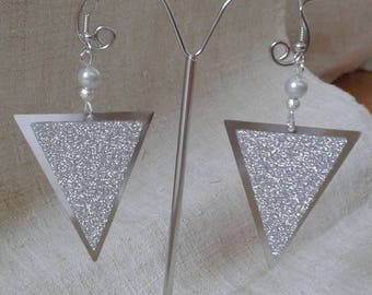 shiny silver triangle earrings