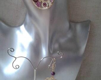 dangle earrings Golden & purple