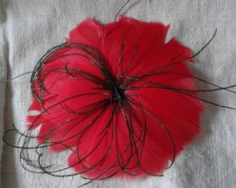"""brooch """"flower red feathers"""""""