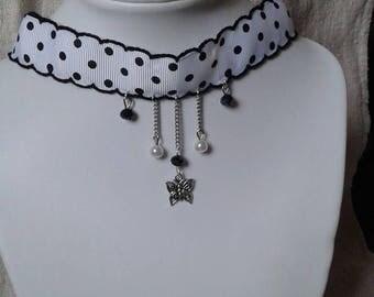 """butterfly and polka dot Ribbon"" Choker necklace"