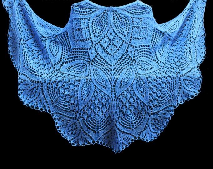 Knitted shawl, blue shawl, shawl scarf, triangular scarf, mohair shawl, openwork scarf, downy shawl, lacy shawl