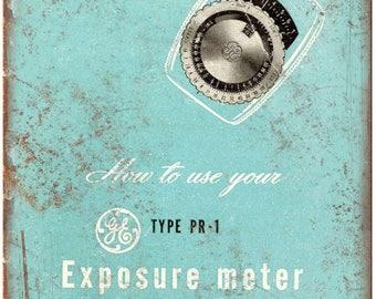 "GE Exposure Meter 35 mm Camera 10"" x 7"" Retro Look Metal Sign"