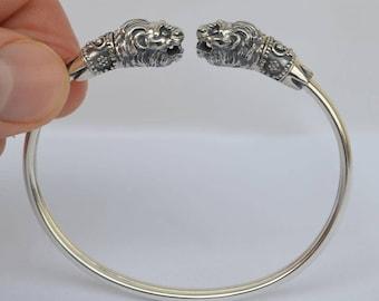 Lion Head Silver 925 Bracelet Symbol of Strength Ancient Greece