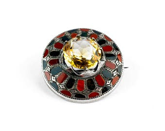 Silver Agate and Citrine Brooch