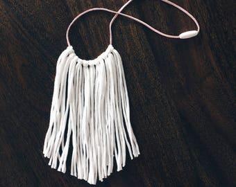 Boho fringe necklace , white fringe necklace ,