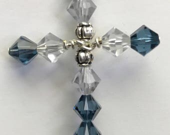 Swarovski Montana Sapphire & Shadow Crystal bicone Cross w/ Chain(not pictured)
