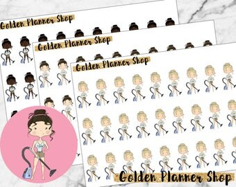 Vacuum Character Planner Stickers - Sophie and Amanda