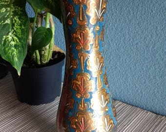 Stunning Enameled Brass Vase, Made in India
