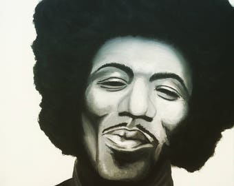 Happy Jimi - Hand-painted Jimi Hendrix - Legend