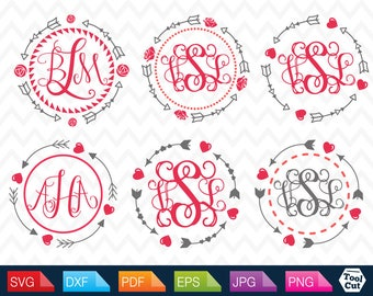 Circle Arrow Monogram Frame Svg Arrows Circle Frames Svg  Tribal Arrows Round Border Svg Monogram Silhouette Svg Dxf Tribal Cricut Download